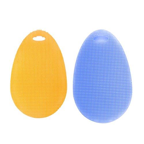 2pcs Multifunction Silicone Dish Washing Scrubber Sponge Kit