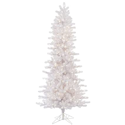 vickerman crystal white slim artificial christmas tree with 650 multi colored led lights 85