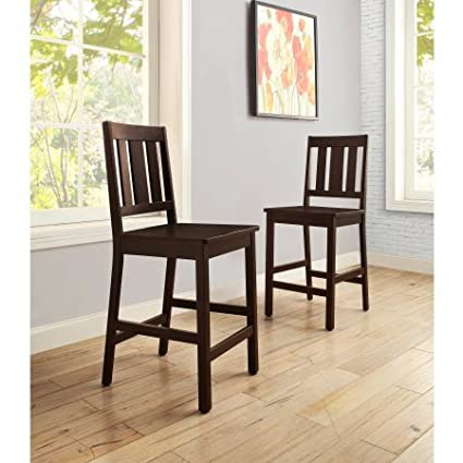 a8a9c6d225 Amazon.com: Better Homes and Gardens Bankston Counter Height Stool, Set of  2, Mocha: Kitchen & Dining