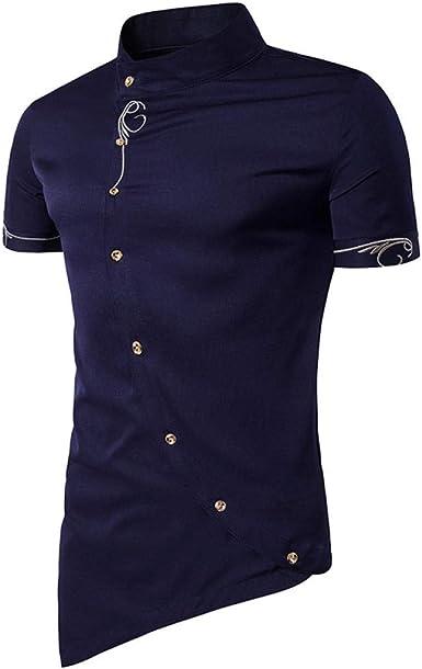Camisa A Cuadros De Manga Corta para Hombres, Ropa Casual De Verano, Camisa Slim De Negocios Negra @ L: Amazon.es: Ropa y accesorios