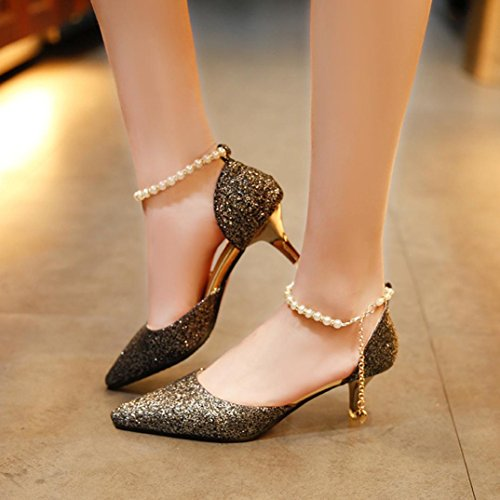 Transer Chic Sequins String Bead High Heel Office Work Shoes - Women Elegant Nude Shallow Mouth Wedding Court Shoes Black czrpdBXj