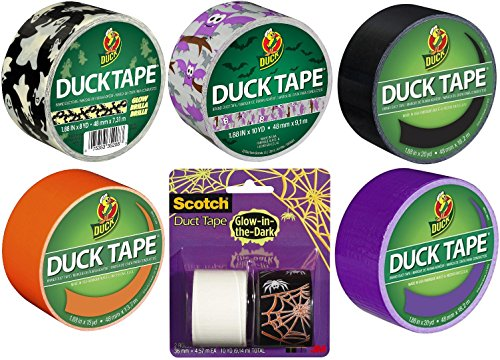 7 Roll Variety Assortment of Duck and Scotch Brand Halloween Themed Duct Tape Roll Bundle (7-Pack) Glow-in-The Dark Solid and Pattern -