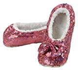 snoozies! Kids and Tweens Sparkle Sequin Slippers Rose 4/5