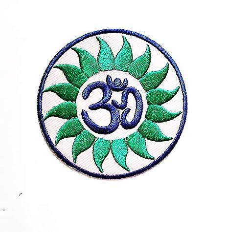 Parche Bordado con diseño de Loto Verde en círculo Hindu AUM ...