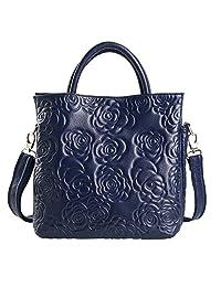 SAIERLONG Women's Tote Single Shoulder Bag Cross Body Bag Handbag Deep Blue Cow Leather