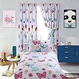 AuraHome TM Curtain and Duvet Set (Butterfly, Single)