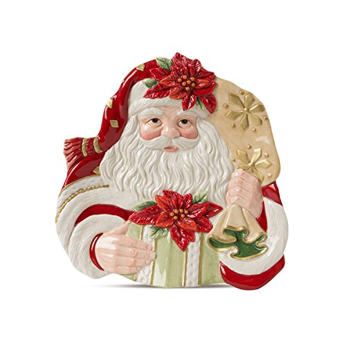 Fitz and Floyd 49-353 Poinsettia Santa Canape Plate Bread, Red - Plates Fitz Christmas Floyd And