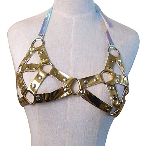 Women's Punk Waist Belt Sexy Body Chain Faux Leather Harness Adjustable with Buckles and O-Rings(LB-16Golden)
