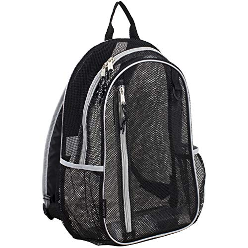 Eastsport Active Mesh Backpack with Padded Adjustable Straps, Black/Gray Trim