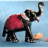 Dreamkraft 6 Inch Paper Mache Elephant Showpiece For Home Decor And Gift Purpose (Red)