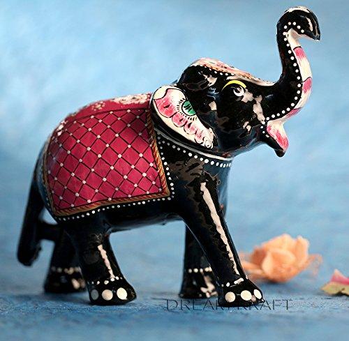 Pm Fig (DreamKraft Paper Mache Elephant Showpiece Idol For Home Decor Standard Red)