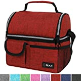 OPUX Deluxe Thermal Insulated Dual Compartment Lunch Bag for Men, Women | Double Deck Reusable Lunch Box with Shoulder Strap, Soft Leakproof Liner | Large Lunch Tote Pail for Work, School (Red)