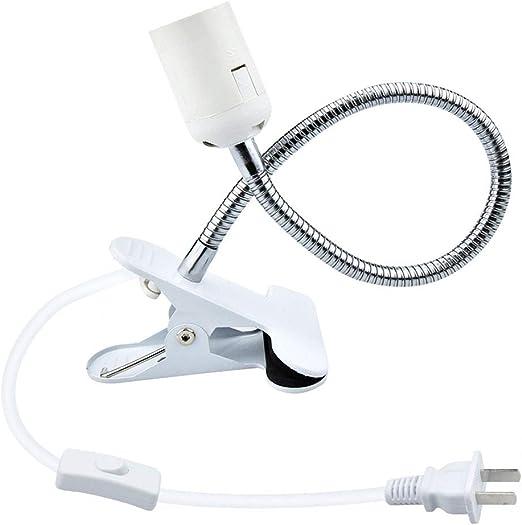 1X LED Flexible Reading Light Clip On Table Desk E27 Bulb Lamp Holder Light Base