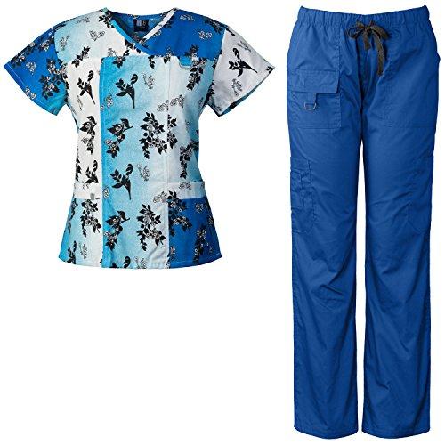Medgear Women's Scrubs Set Multi-Pocket Top & Pants, Medical Uniform CHBB (S, Royal)