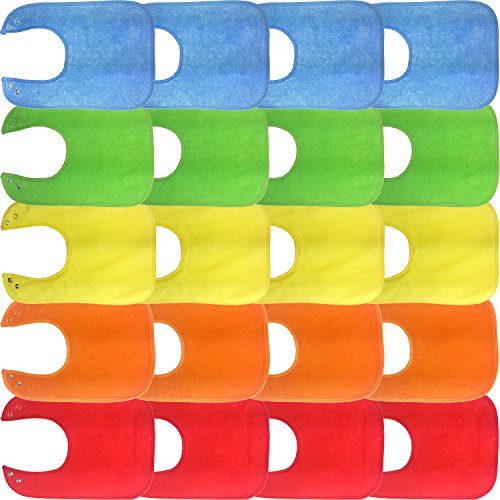 Waterproof Baby Bibs with Snaps, Unisex, Gift Box 20 Pack, Solid Colors ()