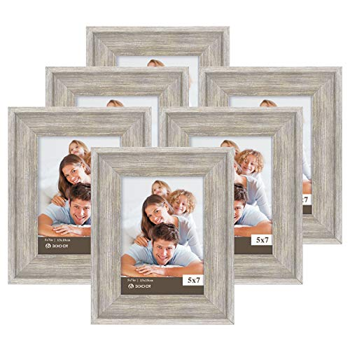 Boichen 5X7 Picture Frames 6 Pack Rustic Style Wood Pattern High Definition Glass for Tabletop Display and Wall mounting Photo Frame Silver Grey Wood