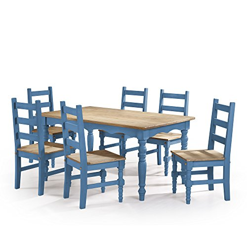 Manhattan Comfort Jay Collection Traditional Pine Wood 7 Piece Dining Set With Trim Design, 6 Chairs and 1 Table, Natural (Outdoor Pine Dining Chair)