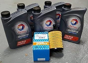 Cambio de aceite kit w/total 188057 5 W-30 y Purflux l267d Filtro de aceite: Amazon.es: Coche y moto