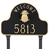 Montague Metal Pineapple Welcome Arch Full Address Sign Plaque with Lawn Stakes, 11'' x 16'', Black/Silver
