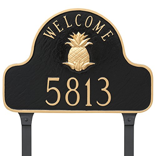(Montague Metal Pineapple Welcome Arch Full Address Sign Plaque with Lawn Stakes, 11