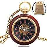 MILIYA Vintage Open Face Wood Mechanical Skeleton Pocket Watch Roman Numberal with Chain