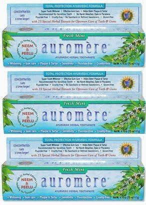 3個セット オーロメア アーユルヴェーダ ハーバル歯磨き粉 フレッシュミント 117g 海外直送品 [並行輸入品]