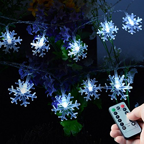 Lights Christmas Snow (Homeleo 50 LED Cold White Snowflake LED Fairy Lights with Remote Control, Battery Powered Snowflake Shaped LED String Lights for Chrismas, Party, Wedding, New Year, Garden Décor)