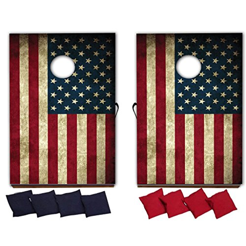 - VictoryStore Cornhole Games - American Flag Cornhole Game - Patriotic Bag Toss Game - 8 Bags Included - Wooden Boards