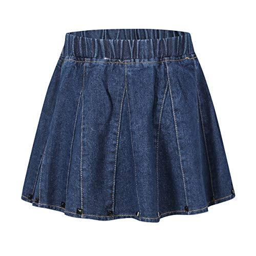 Ameyda Kids Girls' Denim Skirt, Flare A-Line Pleated Denim Skirt for Toddler Little and Big - Denim Skirt 12