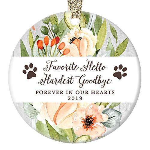 (Dog Memorial Christmas Ornament 2019 Favorite Hello Hardest Goodbye Xmas Present Porcelain In Memory of Family Pet Paw Prints Ceramic Porcelain Keepsake 3