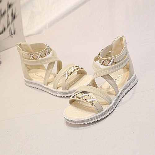 Ularma Sandalias cuero suave plana talón zapatos mujer Beige