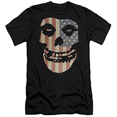 (Misfits Punk Rock Band Fiend Skull On American Flag Adult Slim T-Shirt Tee Black)