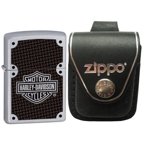 Zippo 24025-HD Harley Davidson Satin Chrome Windproof Lighter with Zippo Black Leather Loop Pouch