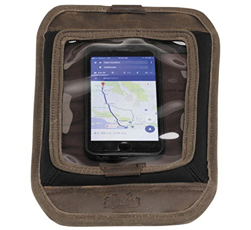 Burly Brand Voyager Magnetic Map Tank Pad Screen Cell Phone / GPS Holder in Brown - Aged/Distressed Waxed Cotton Canvas - MADE IN THE USA (Tank Map Holder)