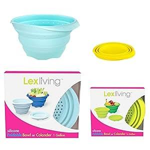 LexLiving Silicone Collapsible Foldable Colander Strainer Set, BPA Free & 100% Food Grade, Blue (4 quart)/ Yellow (1 quart)
