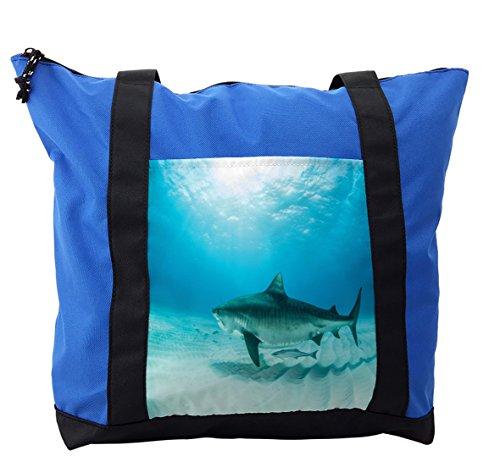 Lunarable Shark Shoulder Bag, Dangerous Oceanic Wildlife, Durable with Zipper by Lunarable