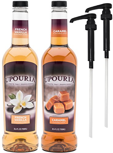 Upouria French Vanilla & Caramel Flavored Syrup, 100% Vegan and Gluten-Free, 750ml bottles - Set of 2 - Pumps included