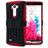 LG G3 Case, MagicMobile® Hybrid Heavy Duty Shockproof Armor Impact Dual Hard Black Plastic Layer and Red Flexible TPU Skin Cover with Kickstand [Free Screen Protector Film and Stylus]