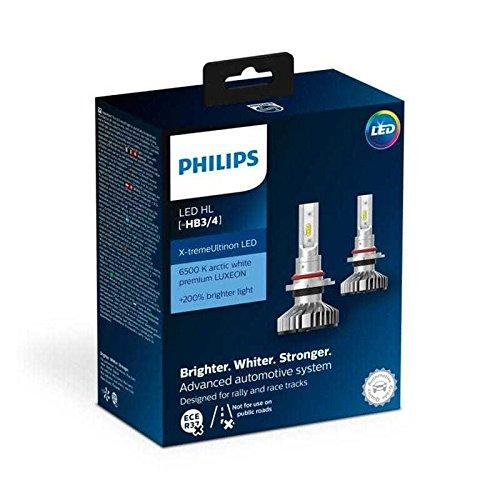 PHILIPS Xtreme Ultinon LED HB3 (9005) HB4 (9006) Car Headlight Bulbs 6500K +200%