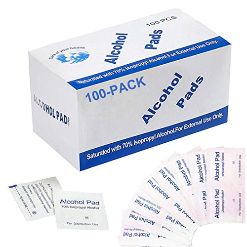 100 Pack Alcohol Wipes 5x5cm, 70% Isopropyl Alcohol Antibacterial Wipes for Home Office Medical Use, Antiseptic Wipes