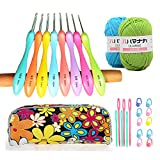 Ergonomic Crochet Hooks Set,Comfort Grip Crochet Needles,Larger Grip Handles Crochet Hook Kit With Cute Case and 2 Skeins Yarn,Sewing Needles,Stitch Markers