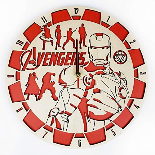 Avengers Wood Wall Clock - Original Home Decor for Kids Room Bedroom Kitchen - Best Gift Idea for Kids Friends Boys and Girls - Unique Wall Art Design - Size 12""
