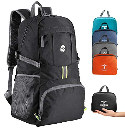Lightweight Travel Backpack, 35L Water Resistant Packable Traveling/Hiking Backpack Daypack for Men & Women, Multipurpose Use, Black
