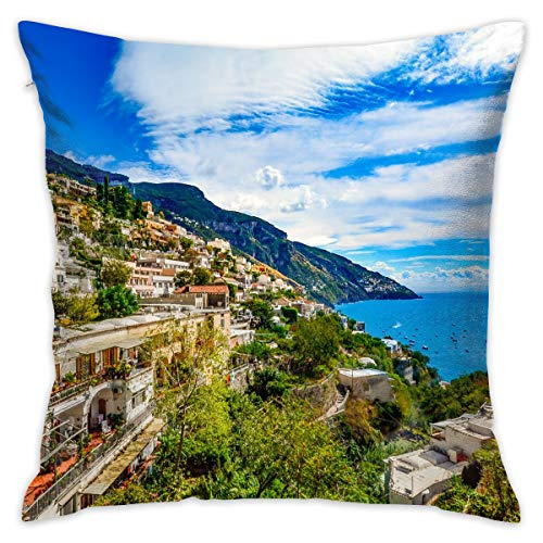 Amalfi Coast Italy Decorative Throw Pillow Cover Zippered Cushion Case for Home Sofa Bedroom Car Chair House Party Indoor Outdoor 18 X 18 Inch 45 X 45 ()