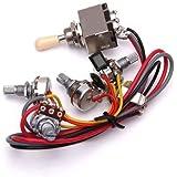 amazon com kmise electric guitar wiring harness kit 2v2t pot jack wiring harness 3 way toggle switch 2v2t 500k pots jack les paul lp guitar