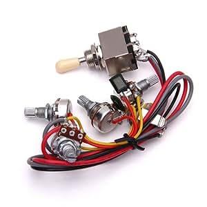 wiring harness 3 way toggle switch 2v2t 500k pots jack les paul lp guitar musical. Black Bedroom Furniture Sets. Home Design Ideas