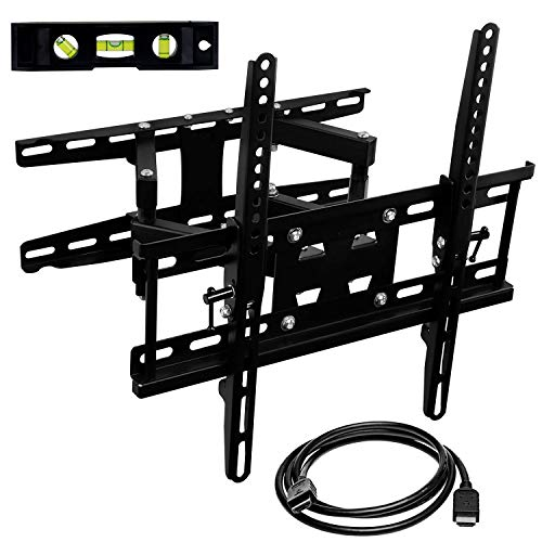 Mount-It! Articulating TV Wall Mount Corner Bracket, VESA 400 x 400 Compatible, Stable Dual Arm Full Motion, Swivel, Tilt Fits 32, 37, 40, 42, 47, 50 Inch TVs, 115 Lbs Capacity with HDMI Cable Black ()