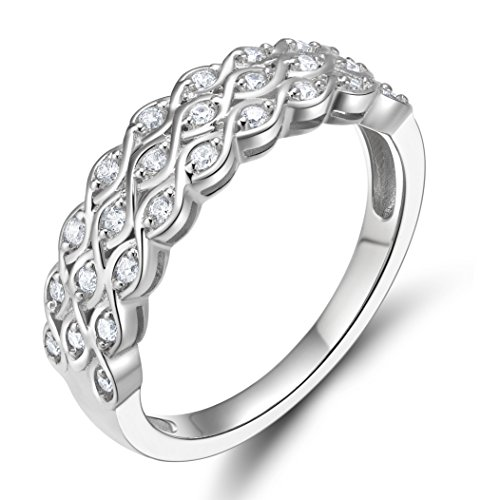 EAMTI 925 Sterling Silver Cubic Zirconia Eternity Band Multi Row Anniversary Ring for Women Size 7