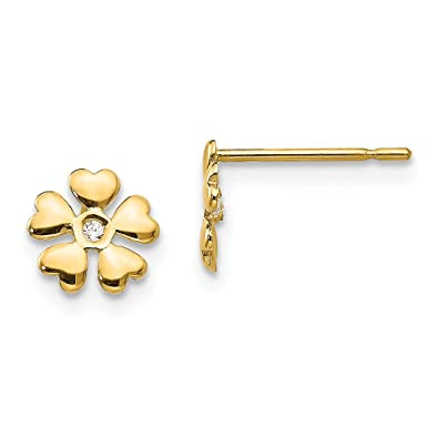 44e098e1f Image Unavailable. Image not available for. Color: 14k Yellow Gold Cubic  Zirconia Cz Childrens Flower Post Stud Earrings ...