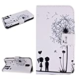 DAMIFNE Wallet Case for Galaxy Note 3,White Leather Case for Galaxy Note 3,White Dandelion Flower Leather BOOK Case for Galaxy Note 3,Cute Cartoon Boy Girl Case for Galaxy Note 3